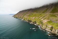 Coastline in Ólafsfjörður in northern Iceland. Aerial photo captured with a camera drone (Phantom).