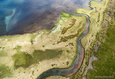 Lake and land in northern Iceland. Aerial photo captured with a camera drone (Phantom) by Paul Oostveen.