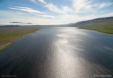 Lake Sigríðarstaðavatn in northern Iceland. Aerial photo captured with a camera drone (Phantom).