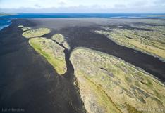 Sand area Sigríðarstaðasandur at the coast in northern Iceland. Aerial photo captured with a camera drone (Phantom).