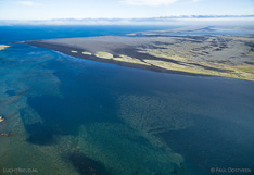 Sand area and tidal lake Sigríðarstaðavatn in northern Iceland. Aerial photo captured with a camera drone (Phantom).