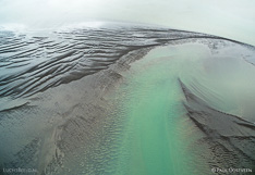 Shallow in the fjord Borgarfjörður in western Iceland. Aerial photo captured with a camera drone (Phantom) by Paul Oostveen.