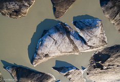 Floating icebergs in the glacier lake in front of Skeiðarárjökull in Iceland. Aerial photo captured with a camera drone (Phantom) by Paul Oostveen.