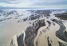Glacial river Hverfisfljót in south Iceland captured with a camera drone.