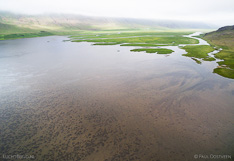 River Vatnsdalsá and lake Flóðið in northern Iceland. Aerial photo captured with a camera drone (Phantom).