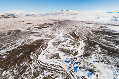 Geitland and Langjökull in winter. Aerial photo captured with a camera drone (Phantom) by Paul Oostveen.