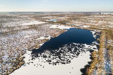 Sneeuw in het Haaksbergerveen, gefotografeerd met een camera drone