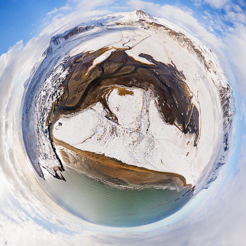 Budir beach Snaefellsnes in winter: 360 degrees panorama made with a camera drone by Paul Oostveen.