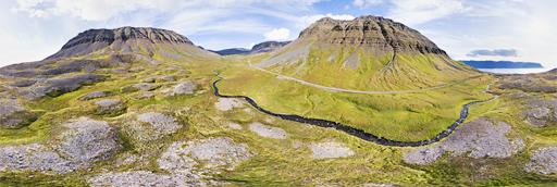 Westfjords Gerdhamradalur valley - 360 graden drone panorama captured by Paul Oostveen with camera drone