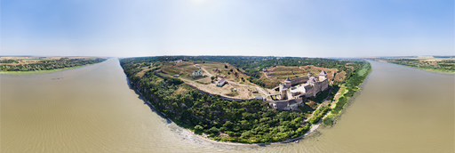 Khotyn with fortress at Dniester river in Ukraine - 360 graden drone panorama captured by Paul Oostveen with camera drone