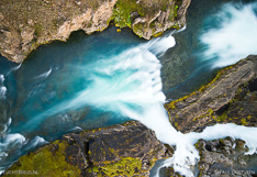 Goðafoss waterfall in Iceland. Long exposure aerial photo captured with a camera drone (Phantom) with aid of a PolarPro ND64 filter. Photographer: Paul Oostveen.
