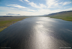 Lake Sigríðarstaðavatn in northern Iceland. Aerial photo captured with a camera drone (Phantom).