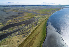 Sand area and lagoon in northern Iceland. Aerial photo captured with a camera drone (Phantom).