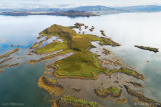 Island in Breidafjördur in Iceland. Aerial photo captured by drone.