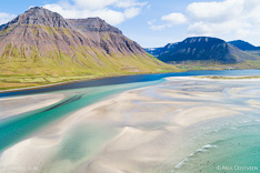 Onundarfjördur fjord in the Westfjords of Iceland. Aerial photo captured by drone.