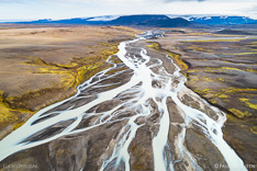 Jokulvisl river and the Hofsjökull glacier in the highlands of Iceland. Aerial photo captured by drone.