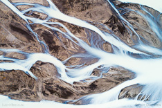 Jokulvisl river in the highlands of Iceland. Aerial photo captured straight down by drone.