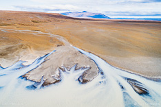 Lake Sandvatn and the mountain Bláfell in the highlands of Iceland. Aerial photo captured by drone.