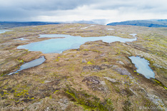 Lakes on Kollabudaheidi in the Westfjords of Iceland. Aerial photo captured by drone.