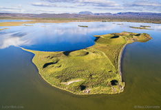 Pseudocraters on an island in Lake Mývatn in Iceland. Aerial photo captured with a camera drone (Phantom) by Paul Oostveen.
