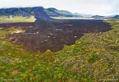 Landslide from Fagraskógarfjall mountain in Hítardalur in West Iceland. Aerial photo captured with a camera drone (Phantom) by Paul Oostveen.