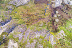 Mountain pass Sandheidi in the Westfjords of Iceland. Aerial photo captured by drone.