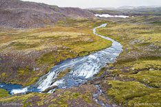 River on Dynjandisheidi in the Westfjords of Iceland. Aerial photo captured by drone.