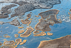River in the interior of Iceland. Aerial photo captured from a helicopter.