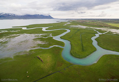 River in western Iceland. Aerial photo captured with a camera drone (Phantom).