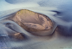 Sandbars in river Héraðsvötn in northern Iceland. Aerial photo captured with a camera drone (Phantom).