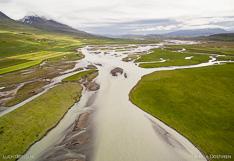 River Héraðsvötn in northern Iceland. Aerial photo captured with a camera drone (Phantom).