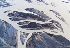 Sandbars in the glacial river Hverfisfljót in south Iceland, captured with a camera drone.