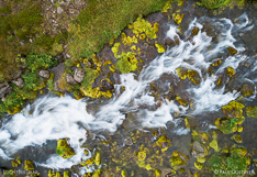 Waterfall Gljufara in the Westfjords of Iceland. Long exposure photo captured by drone.