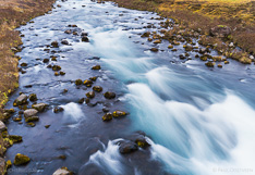 Small river in Iceland. Long exposure photo captured by drone.