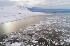 Ice and snow in winter in Borgarfjördur. Aerial photo captured with a camera drone (Phantom) by Paul Oostveen.