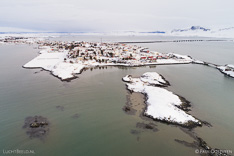 Borgarnes in winter with snow. Aerial photo captured with a camera drone by Paul Oostveen.
