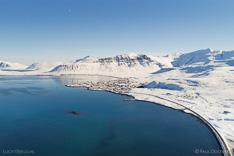 Grundarfjörður on Snæfellsnes in winter with snow. Aerial photo captured with a camera drone by Paul Oostveen.
