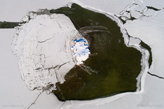 Frozen lake in Iceland. Aerial photo captured with a camera drone (Phantom) by Paul Oostveen.