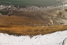 Beach at Búðir on Snæfellsnes in winter with snow. Aerial photo captured with a camera drone (Phantom) by Paul Oostveen.