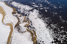 Snow and ice in winter in Iceland. Aerial photo captured with a camera drone (Phantom) by Paul Oostveen.