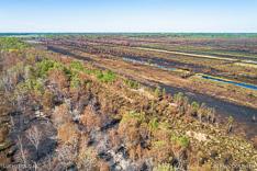 Deurnese Peel na de grote brand van april 2020 - luchtfoto gemaakt met een drone.