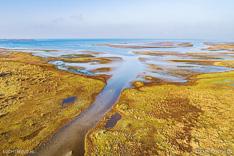 Luchtfoto van de Slikken van Flakkee in de Grevelingen (Grevelingenmeer). Gemaakt met een camera drone door Paul Oostveen.