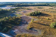 Steenhaarplassen op het Buurserzand tijdens de droge zomer van 2018, gefotografeerd met een camera drone.