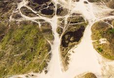 Stuifzand in het bos. Luchtfoto gemaakt met een camera drone (Phantom).