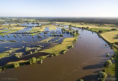 Hoog water in de zomer in de rivier de IJssel tussen Zutphen en Deventer. Luchtfoto gemaakt met een camera drone (Phantom).