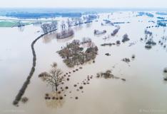 Ondergelopen uiterwaarden langs de IJssel, vlakbij ruïne Nijenbeek. Luchtfoto gemaakt met een drone.